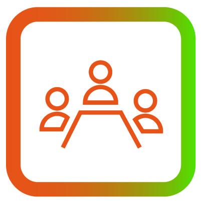 Icon vergaderen en informeren